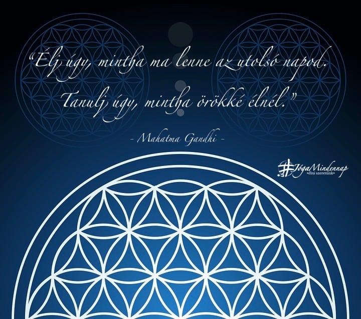 Élj úgy, mintha ma lenne az utolsó napod. Tanulj úgy, mintha örökké élnél - Mahatma Gandhi idézet - Jóga Mindennap - meditáció, megerősítés, recept, ingyen jógavideó