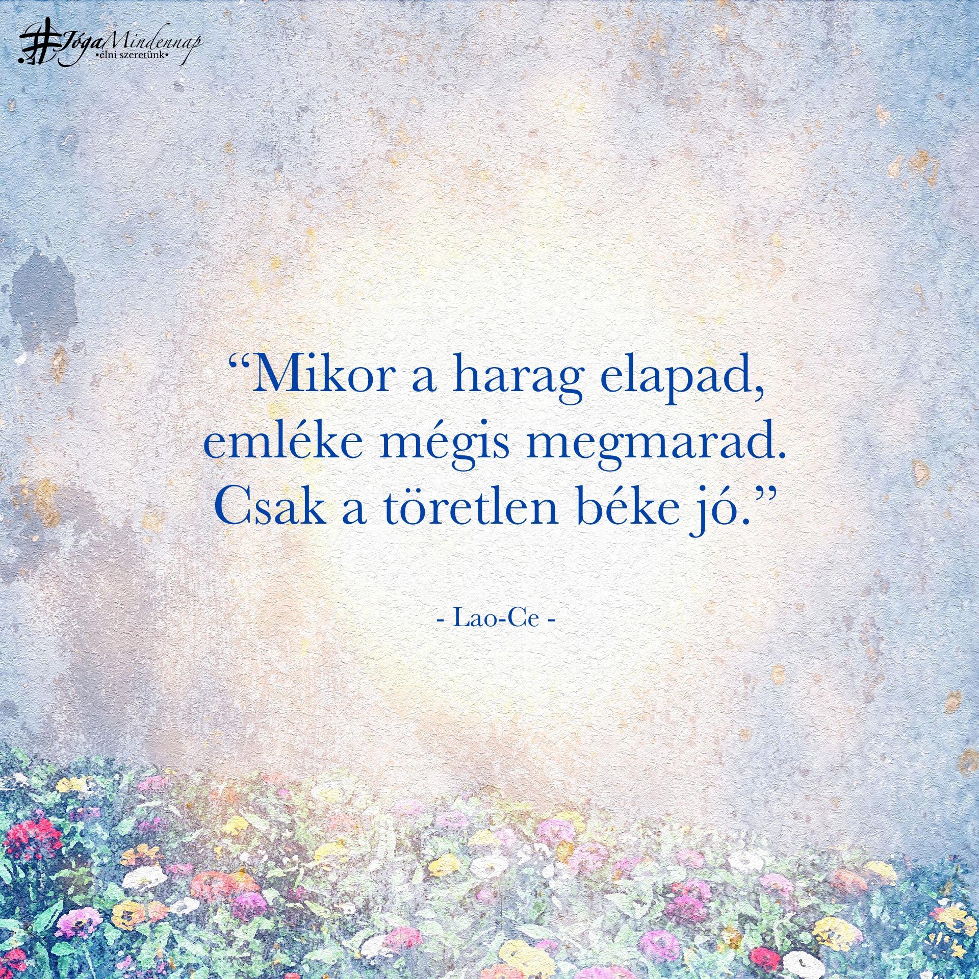"""""""Mikor a harag elapad, emléke mégis megmarad. Csak a töretlen béke jó."""" - Lao-Ce idézet - Jóga Mindennap motiváció, meditáció, megerősítés"""