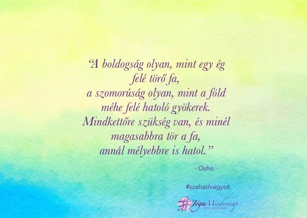 A boldogság olyan, mint egy ég felé törő fa - Osho idézet napindító meditáció megerősítés motiváció Jóga Mindennap